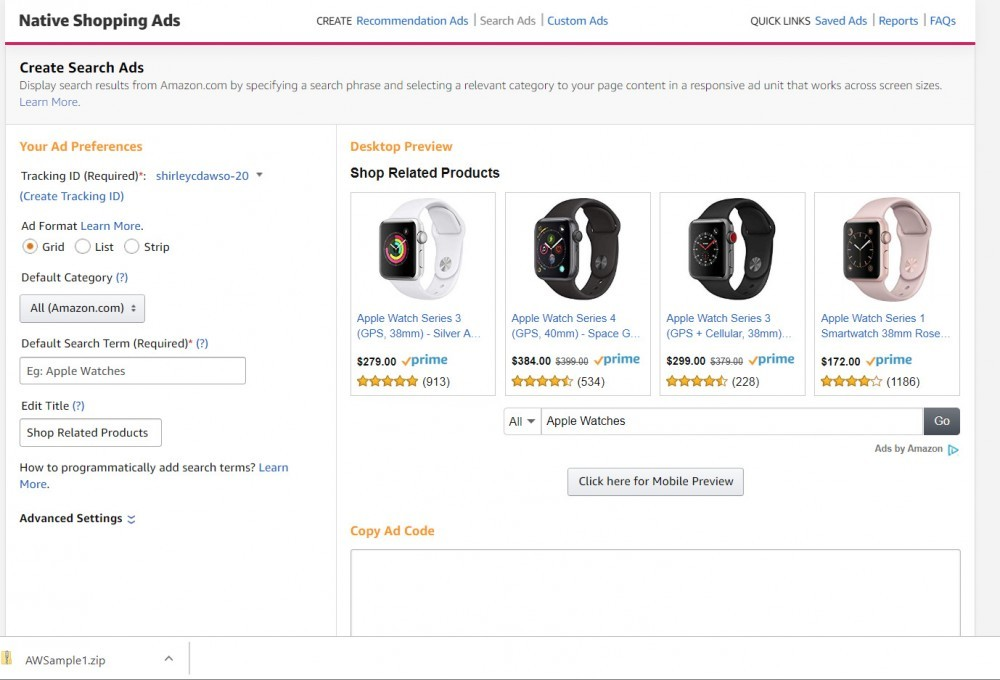 Image showing form for creating Amazon Search Ad unit