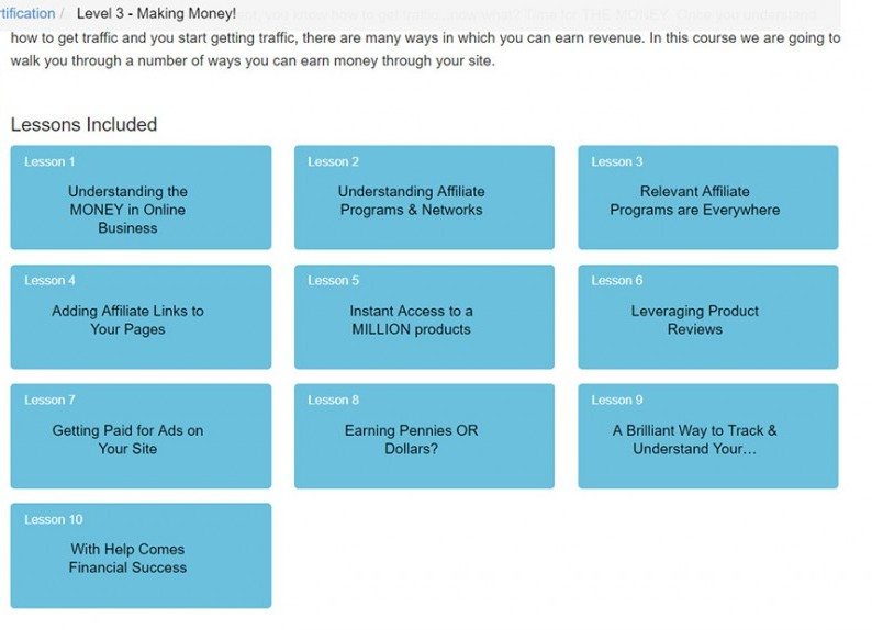Image of lessons in Level 3 of Online Certification Training course