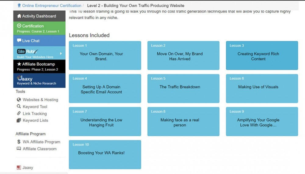 Image describing all Level 2 - Building Your own traffic producing website lessons