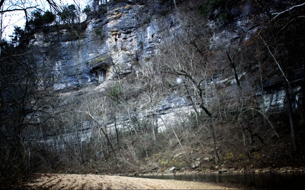 An image of the cliffs about the buffalo river in the Steel Mill Campground area.