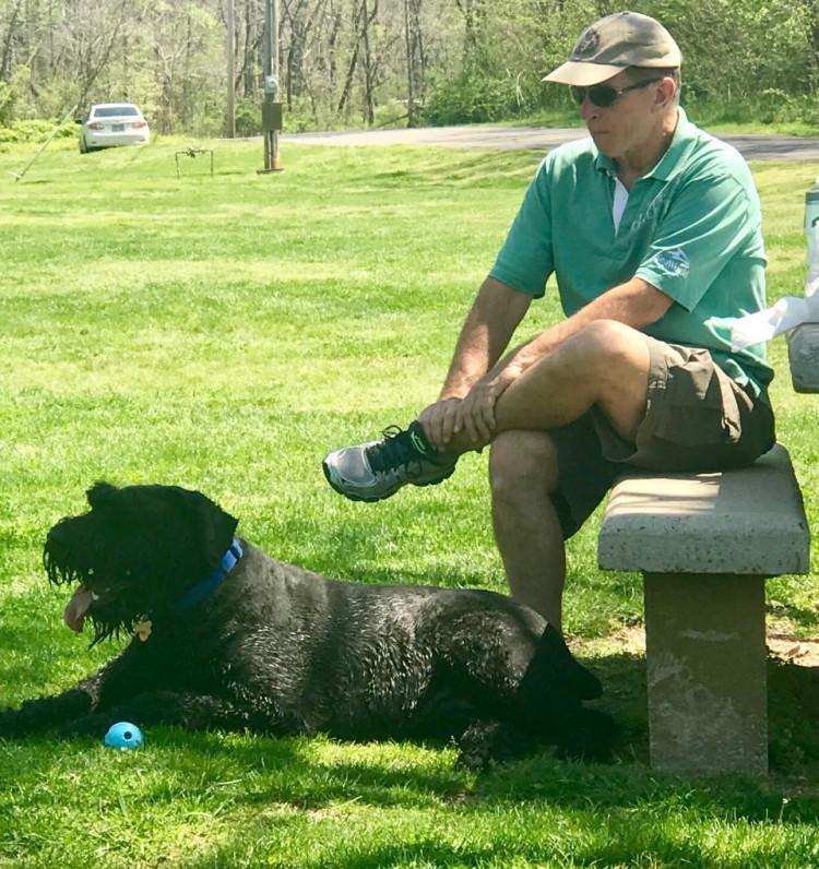 Image of Bo at picnic with my husband