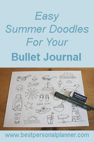 how to draw Summer doodles bullet journal