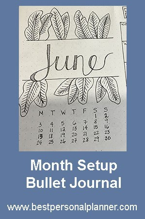 june month setup bullet journal