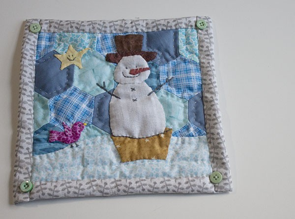 Mini Quilt With A Snowman