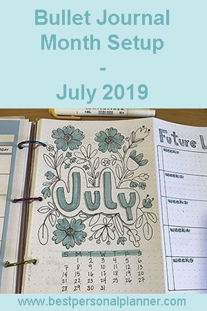 Bullet Journal Month Setup - July