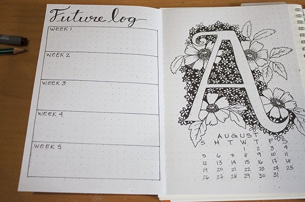 Month Setup Bullet Journal August