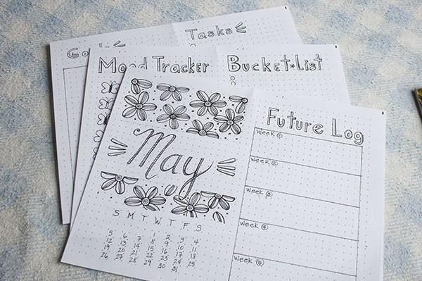 month setup bullet journal