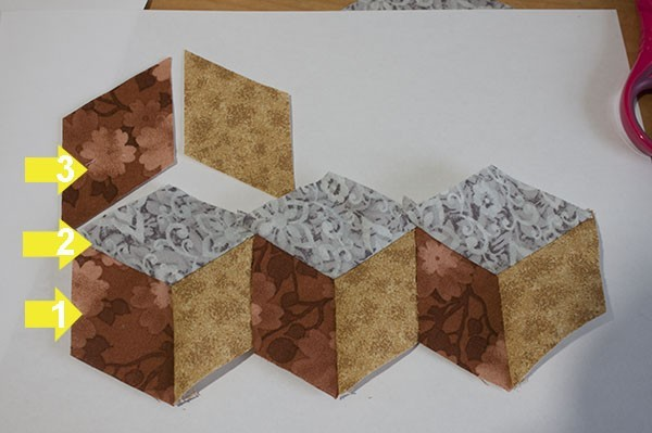 how to make tumbling blocks patchwork