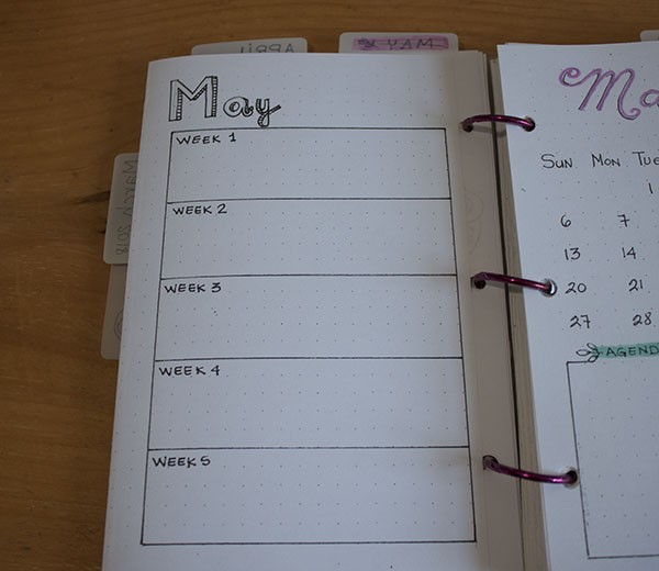 bullet journal - month future log