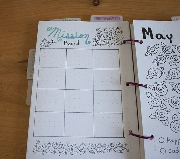 bullet journal mission board