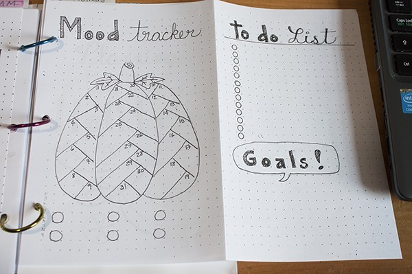 mood tracker idea bullet journal