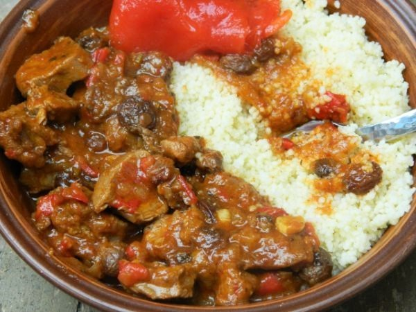 World best lamb stew with raisins served with couscous