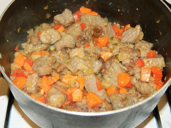 Best Homemade Beef Stew Recipe-Fried Beef Meat and Vegetables in a Pot