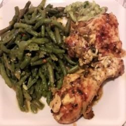 Green Bean Salad With Garlic-Served With Roasted Turkey Thighs