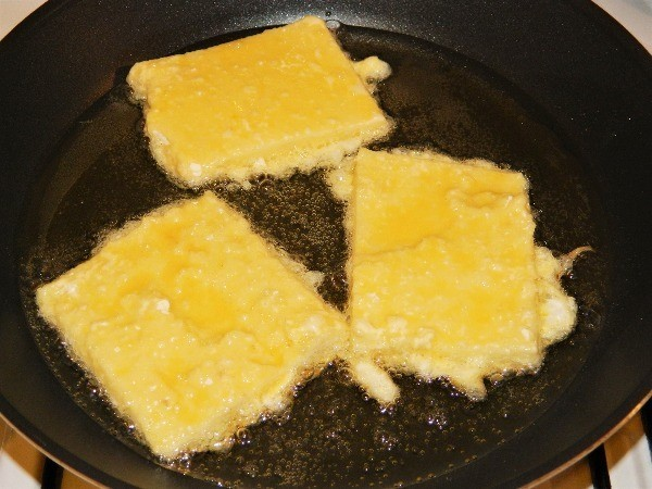 Frying Semolina Pudding Slice