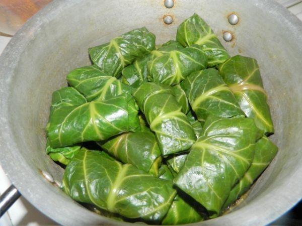 Stuffed greens arranged in a pot