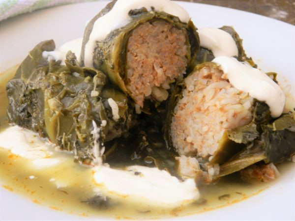 Best Stuffed Collard Greens Recipe-Served With Sour Cream