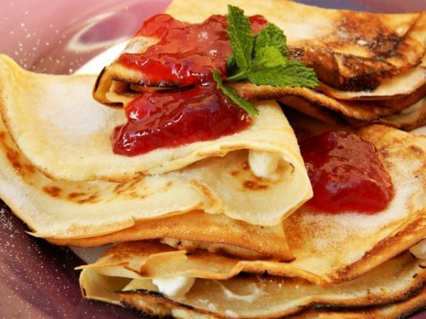 Cream Cheese Filling Crepes Recipe-Served on the Plate With Raspberry Jam