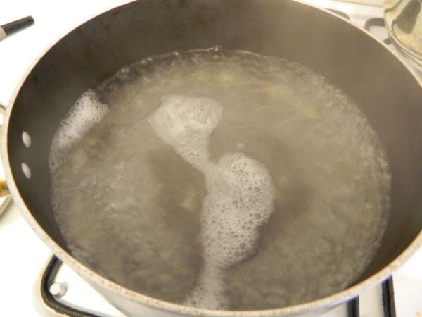 Easy Polenta Recipe-Boiling Water in Pot
