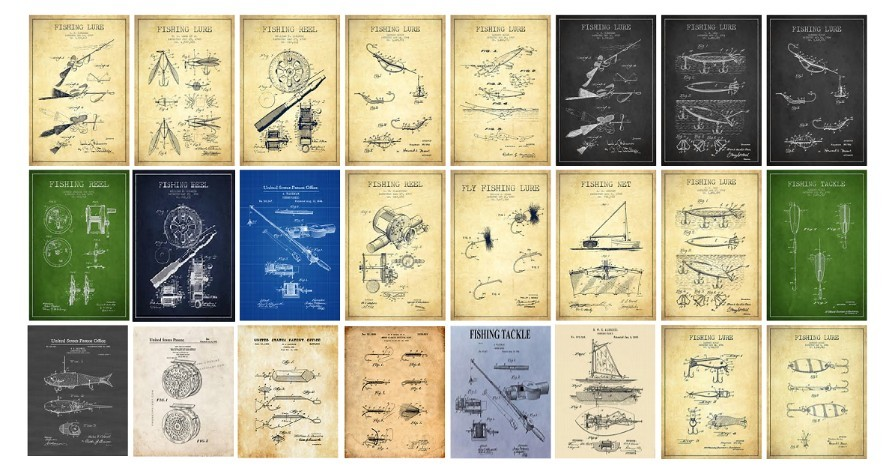 Or Vintage Patent drawings of Fishing