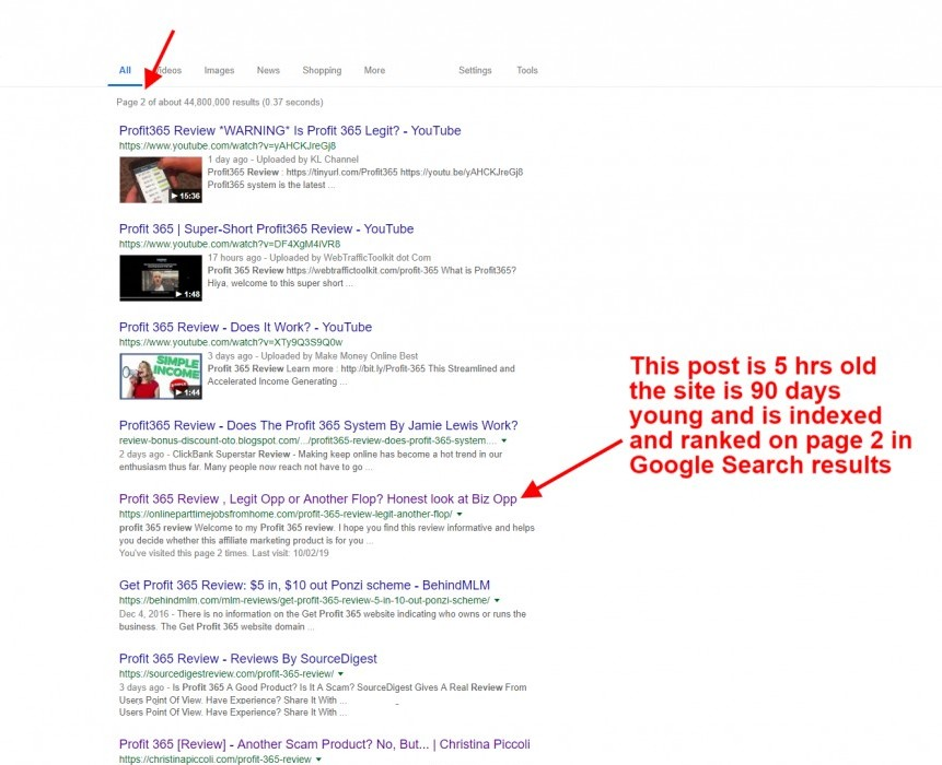 post is on page 2 google search results