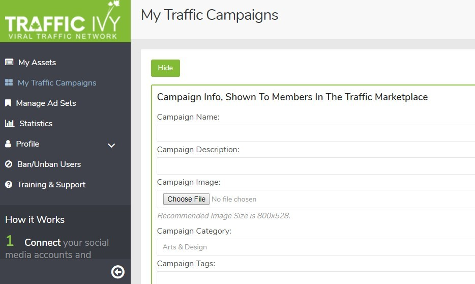 traffic ivy dash board to create your campaigns