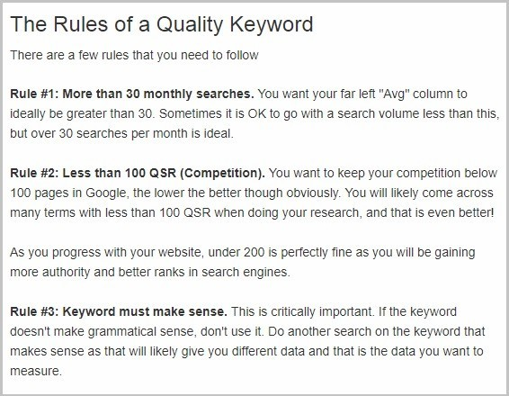 Rules of a Quality Keyword