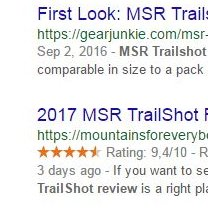 Rich snippet in SERPs