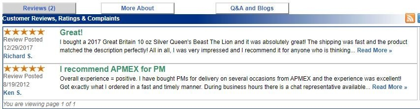 APMEX Review - TrustLink customer review