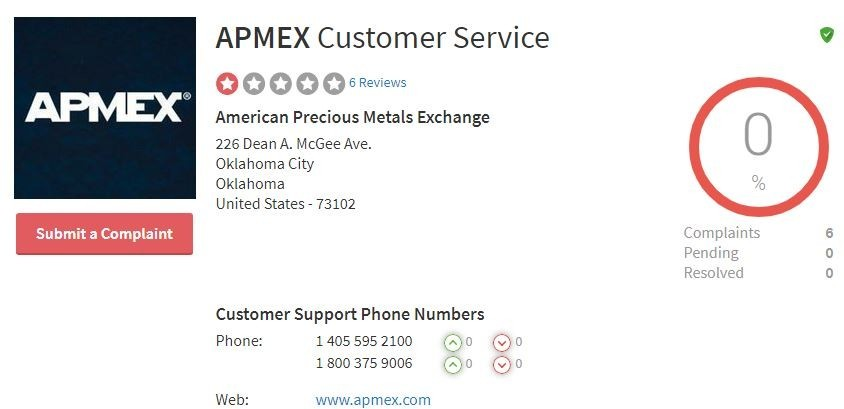APMEX Review - complaints board ratings