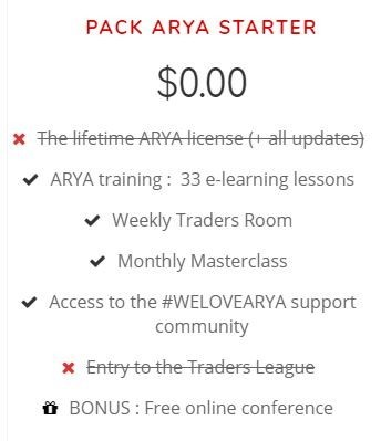 arya trading review - free starter pack