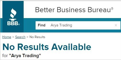 arya trading review - BBB rating