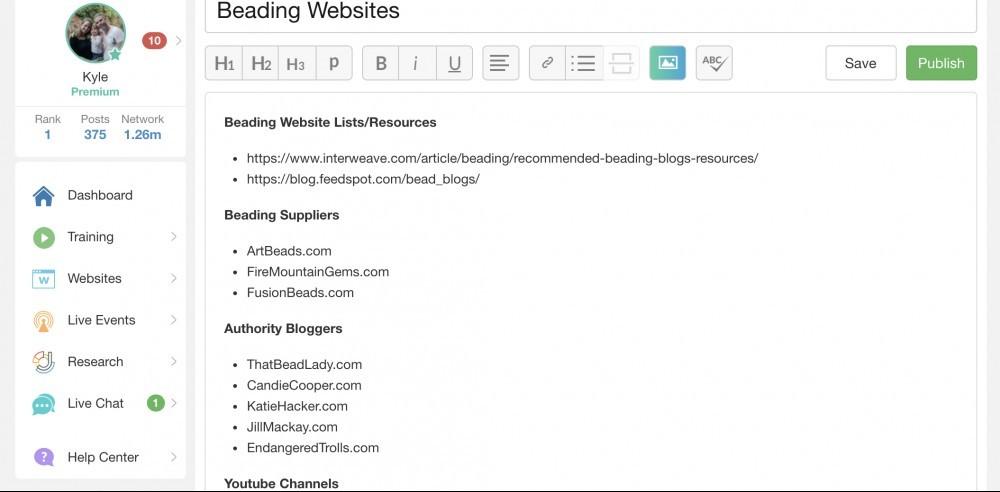List of Beading Websites, SiteContent
