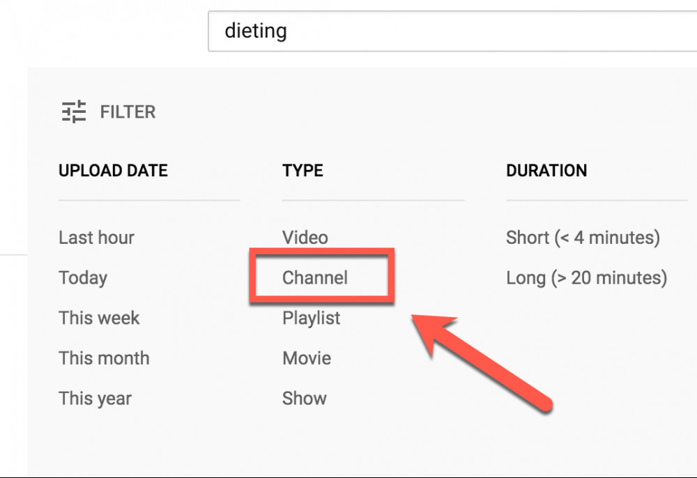 Dieting Channel Filter - Youtube