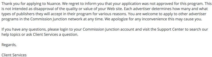Nuance Affiliate Application Denied