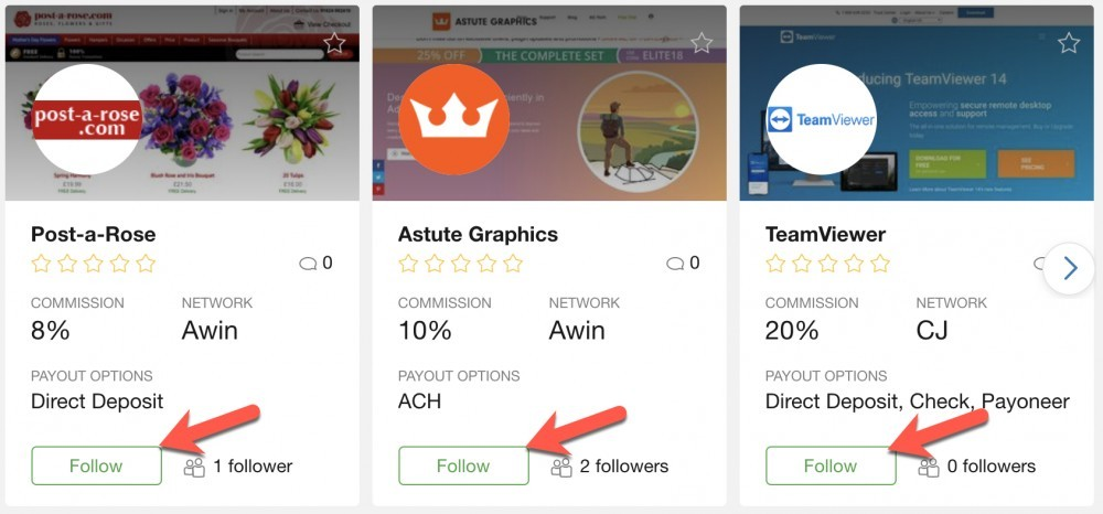 Affiliate Program Follow Button