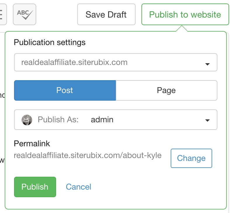 Wealthy  Affiliate SiteContent Publish page showing publication settings suchas Post, Page, Publishas admin, permalink, etc
