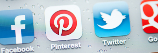 Facebook, Pinterest, Twitter and Google plus logos