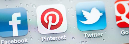Facebook, Pinterest, Twitter and Google plus logos