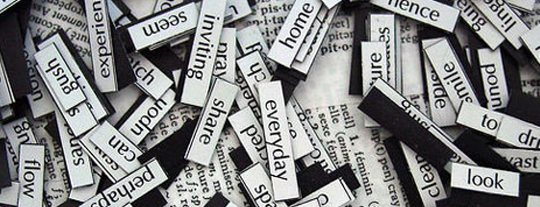 keywords written on pieces of papers mixed together.