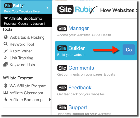 The SiteRubix page for creating 2 FREE websites for starter members in Wealthy Affiliate