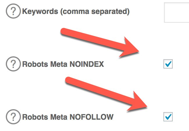 Noindex and Nofollow areas of WordPress website ticked to tell search engines not to rank page