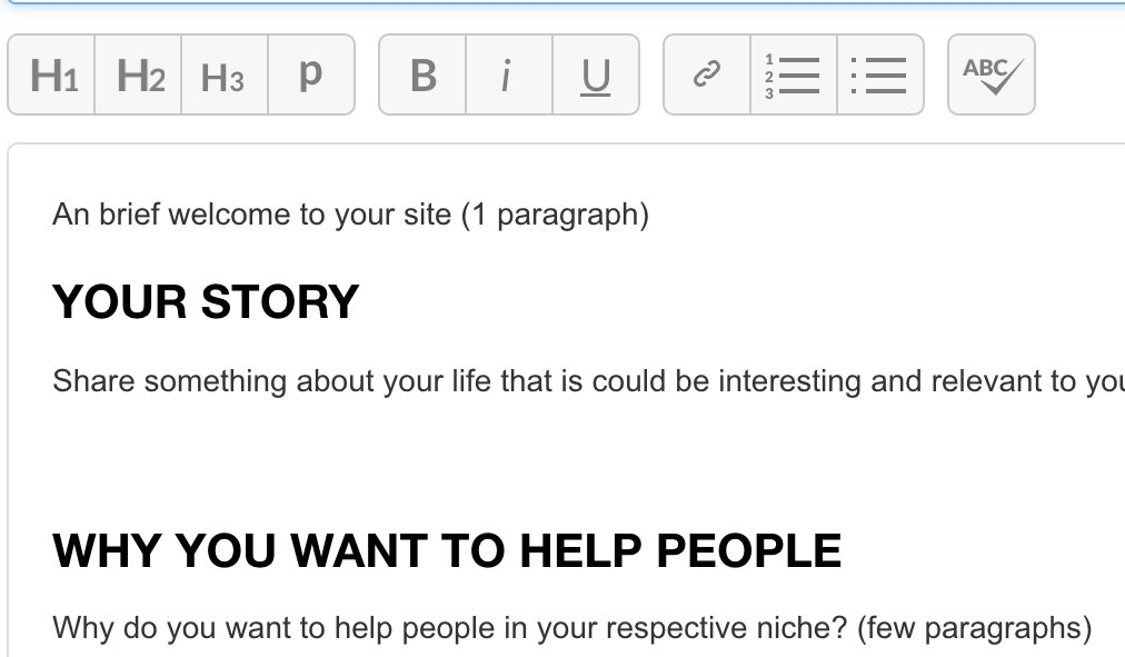 The SiteContent writing page showing  the template to be populated to write an About Me page