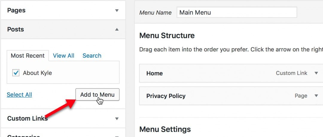Menu Structure section to add the About Mepage