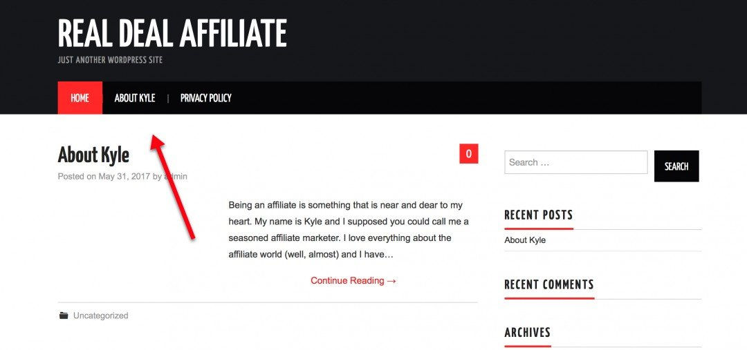 The look of Kyle'slive website with newly updated information. We see a black top menu with website name (Real Deal Affiliate), home page coloured red and about me and privacy policy pages in white