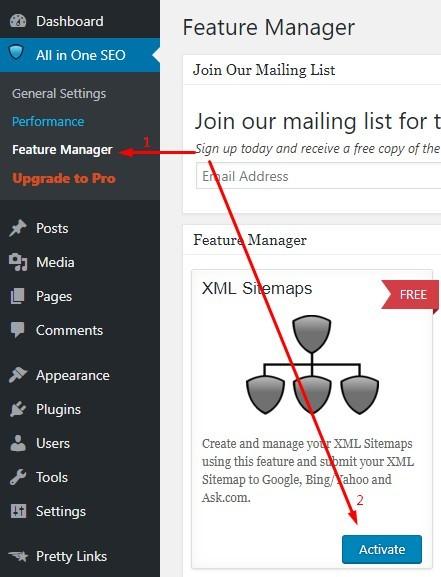 Activating XML Sitemaps