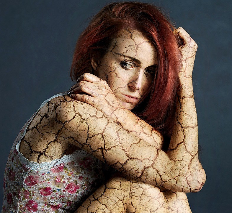 Woman with stone skin