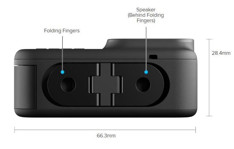 GoPro Hero8 Black folding fingers bottom side