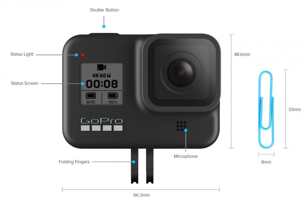 GoPro Hero8 Black dimensions and front side