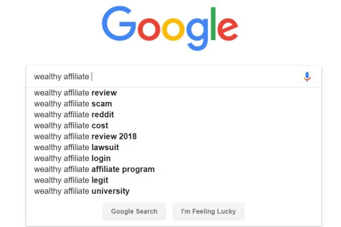 Google Search Suggest - Wealthy Affiliate
